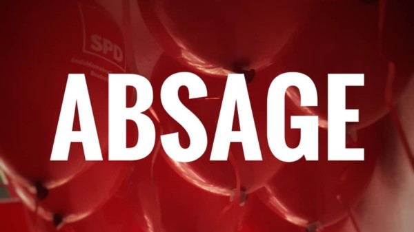 Rote Luftballons mit Text Absage
